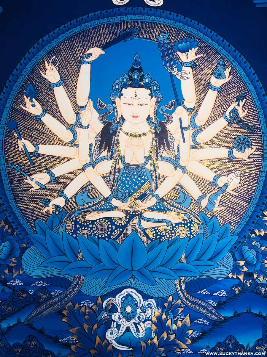 Chundi Thangka painting on cotton canvas.