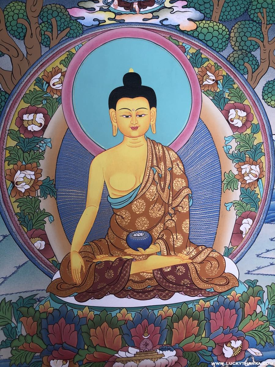 Shakyamuni Buddha with Tara and Namo Amitabho Thangka -  Best Thangka & Singing Bowl