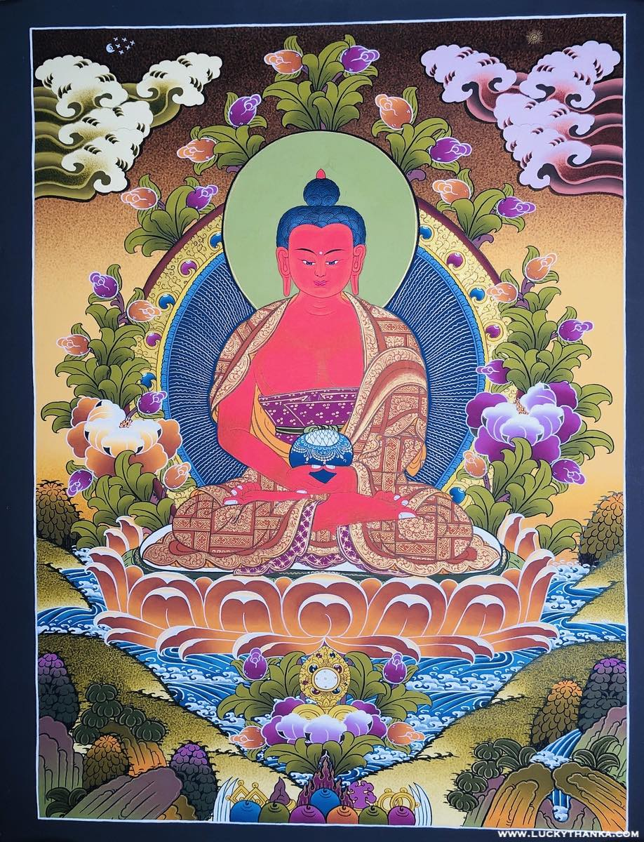 Amitabha Buddha Thangka painting - Long Life and Happiness .