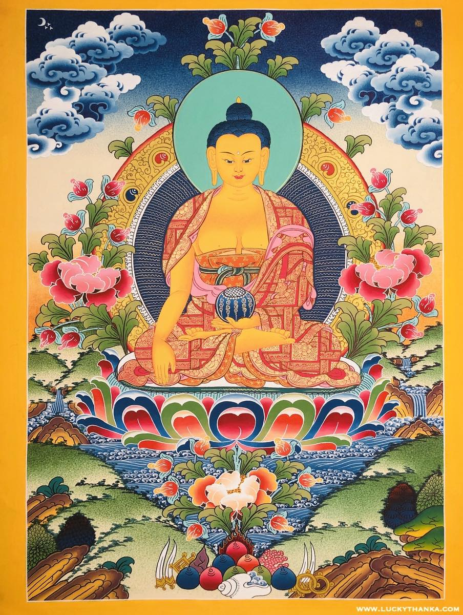 Shakyamuni Buddha Tibetan Thangka Art -  Best Thangka & Singing Bowl