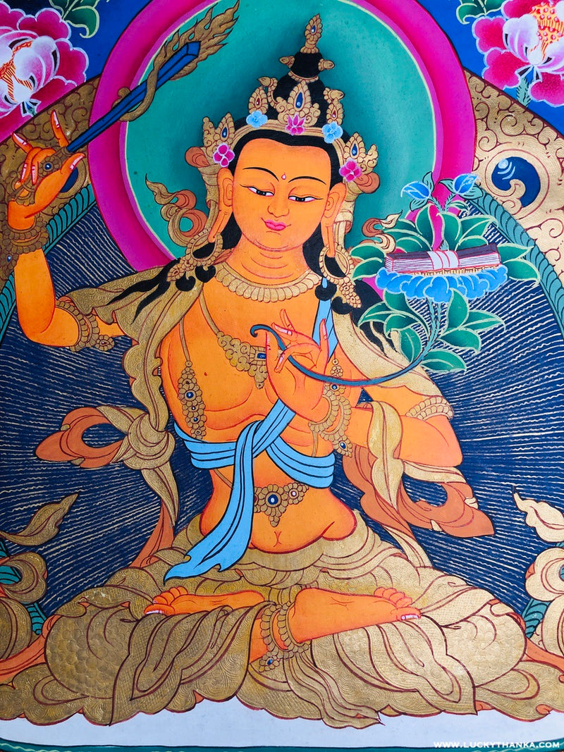 Beautiful Hand Painted Manjushri Thangka -  Best Thangka & Singing Bowl