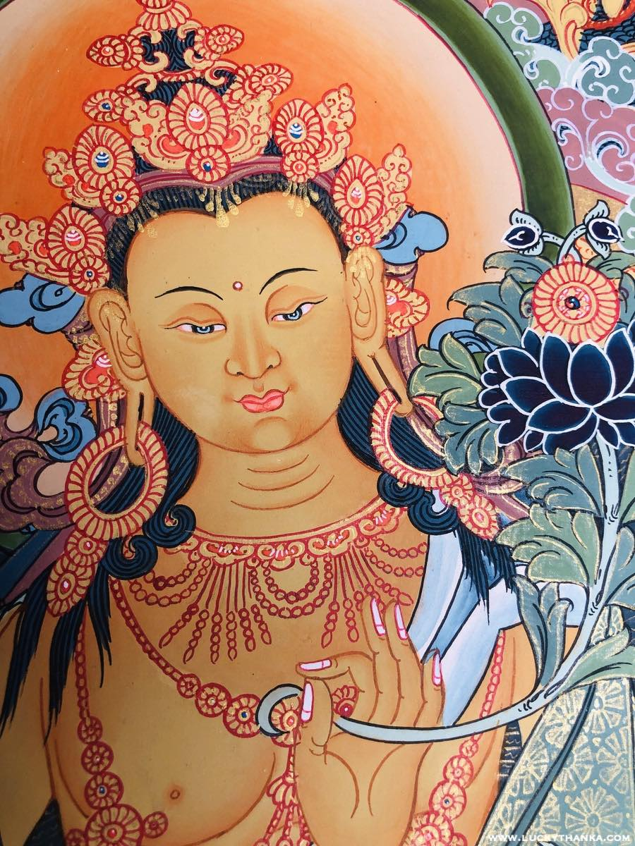 Beautiful Maitreya Buddha Thangka art -  Best Thangka & Singing Bowl