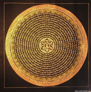 Black and Gold Mandala Thangka from Nepal -  Best Thangka & Singing Bowl