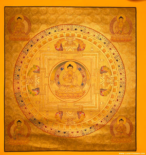 Gold Buddha Thangka Painting