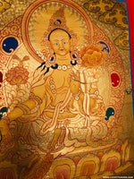 Gold painted Green Tara Thangka art on pure cotton canvas.