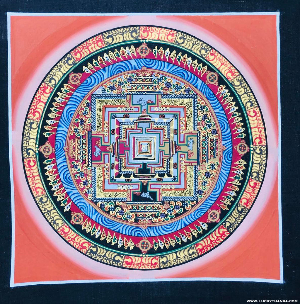 Red Kalachakra Mandala Wall Scroll Thangka Painting -  Best Thangka & Singing Bowl