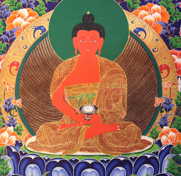 Amitabha Buddha painting on cotton canvas for meditation.