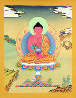 Amitabha Buddha Thangka painting on cotton canvas.