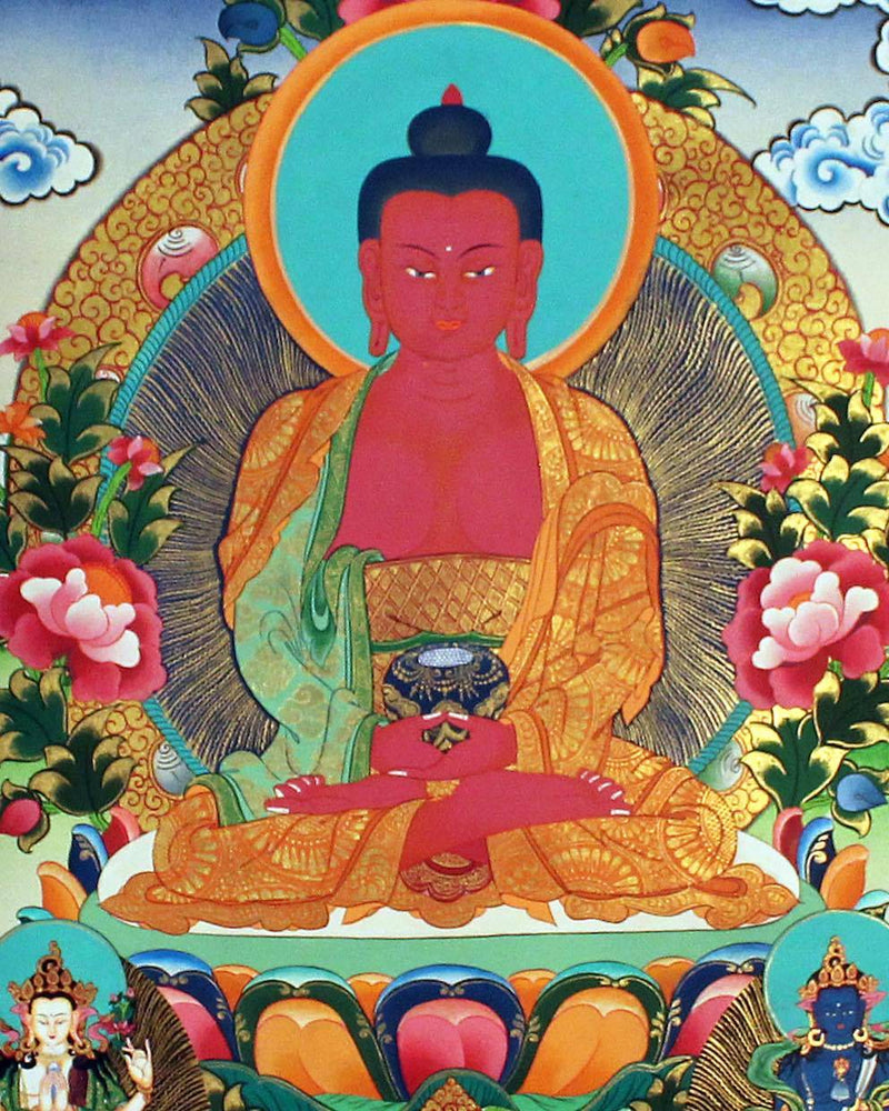 Natural Stone color Amitabha Buddha Thangka painting painted by highly skilled lama artist from Nepal.