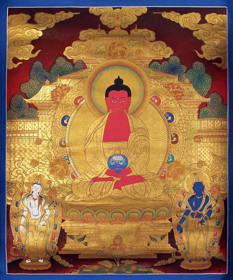 Gold Amitabha Buddha Thangka art on cotton canvas, Tibetan Thangka Scroll Painting.