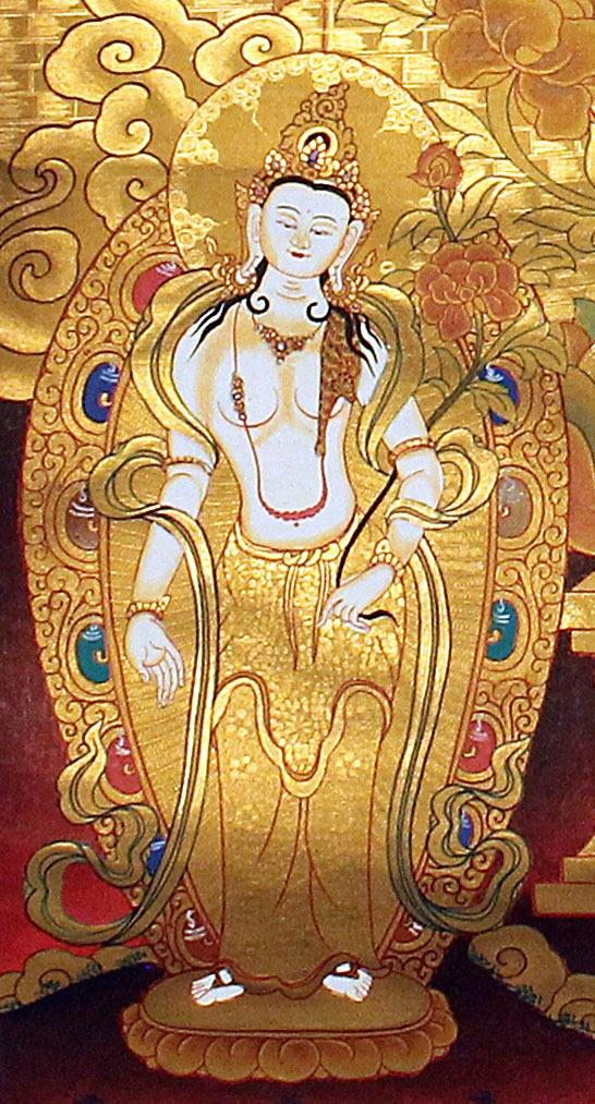 Amitabha Buddha -  Best Thangka painting with natural stone color.
