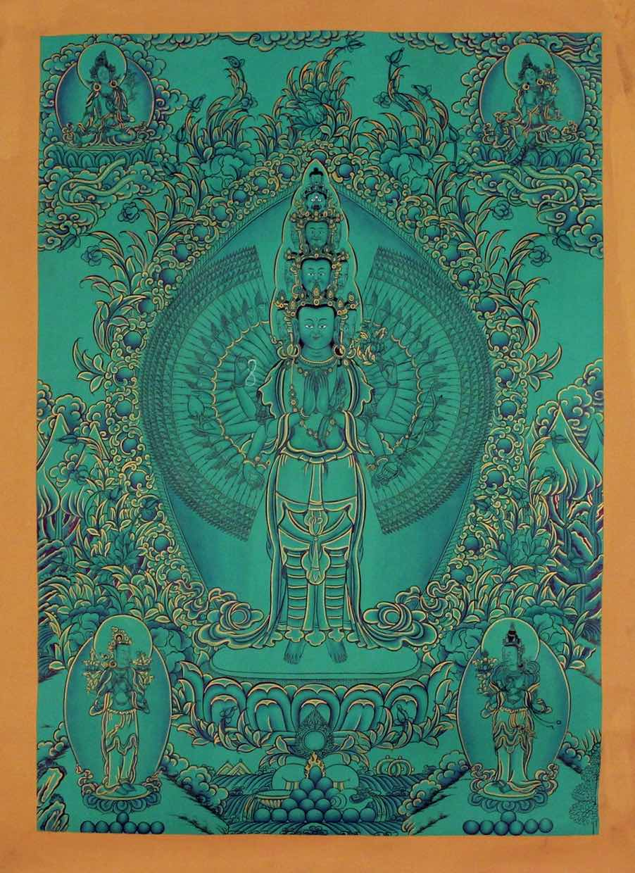 High quality Avalokiteshvara Thangka art on cotton canvas, 1000 arm Chenrezig Tibetan Thangka Scroll Painting.