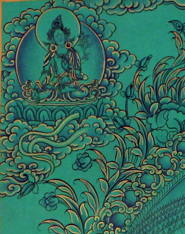 High quality Avalokiteshvara Thangka painting with natural stone color.