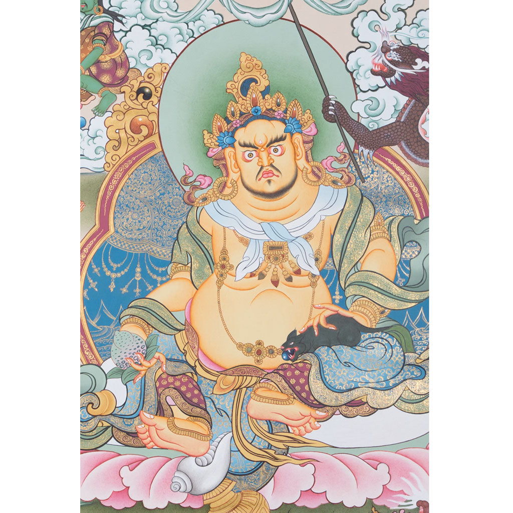 Dzambala Thangka (Kubera) Very high quality art 1 pcs ONLY -  Best Thangka & Singing Bowl