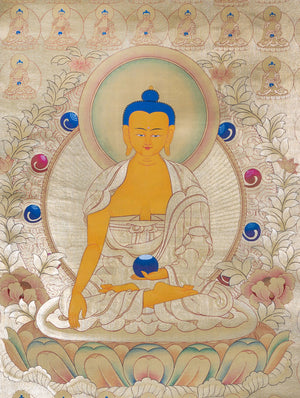 108 Shakyamuni Buddha Fully GOLD painted on cotton canvas | Tibetan Thangka painting -  Best Thangka & Singing Bowl