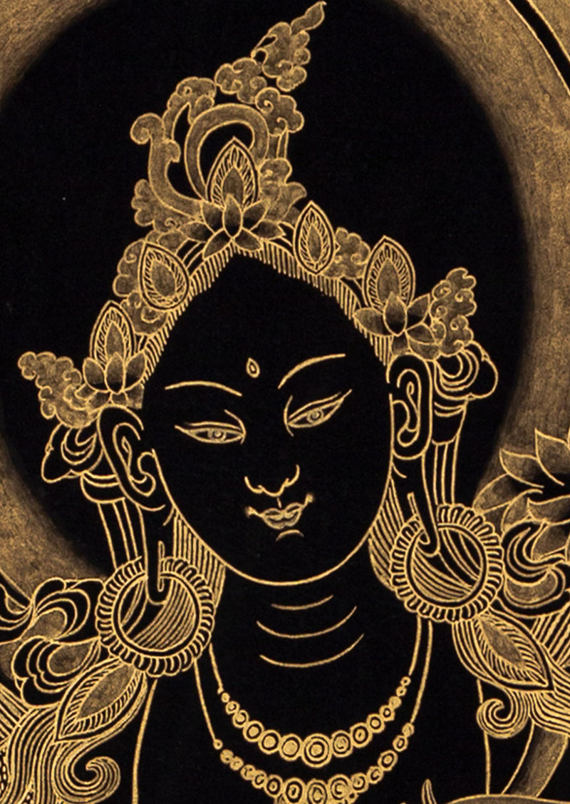 Black and 22K Gold Hand Painting Art of Green Tara | Buy Thangka Online -  Best Thangka & Singing Bowl