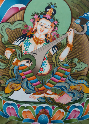 Green Tara and other Bodhisattva Enlightened Being | Thangka Painting from Nepal -  Best Thangka & Singing Bowl