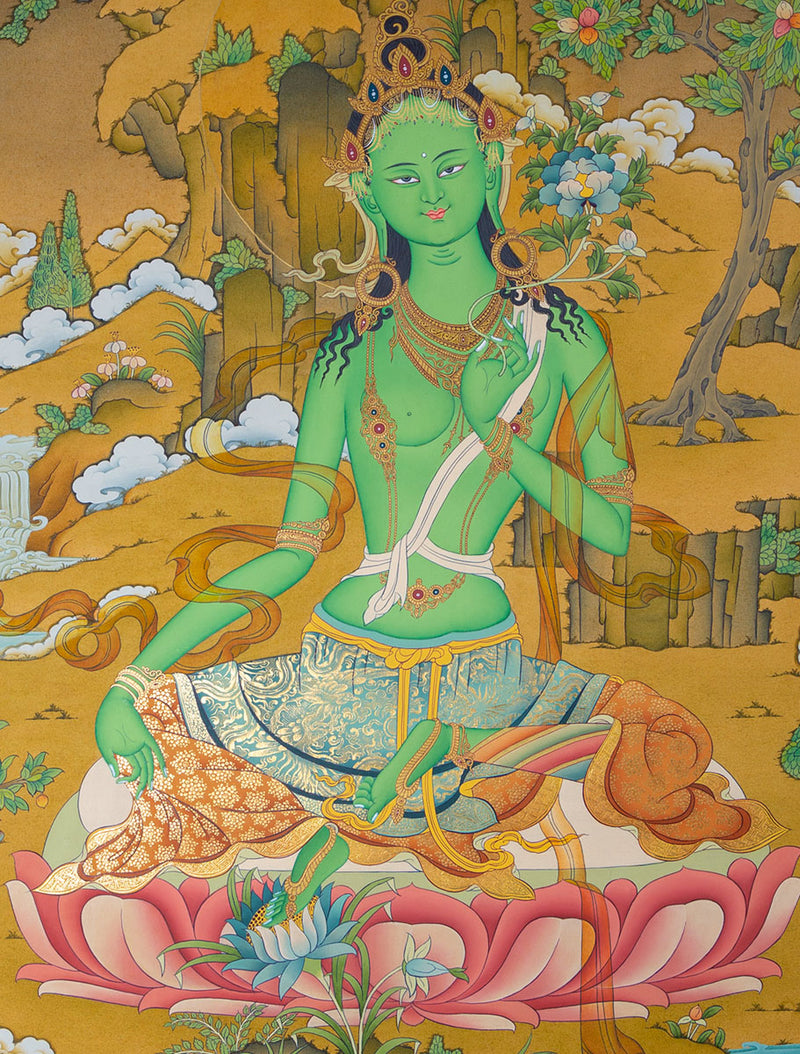 Green Tara Master Pcs Collection | Beautiful for Decoration or Tara Practice/Meditation -  Best Thangka & Singing Bowl