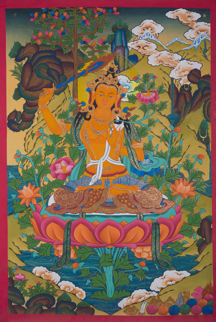Manjushri | Source of Knowledge and Wisdom | Tibetan Thangka Painting -  Best Thangka & Singing Bowl