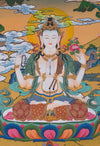 Four Armed Chenrezig Tibetan Thangka Art - Love and Compassion -  Best Thangka & Singing Bowl