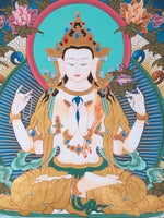 Chenrezig Thangka painting with mantra Om Mani Padme Hum -  Best Thangka & Singing Bowl