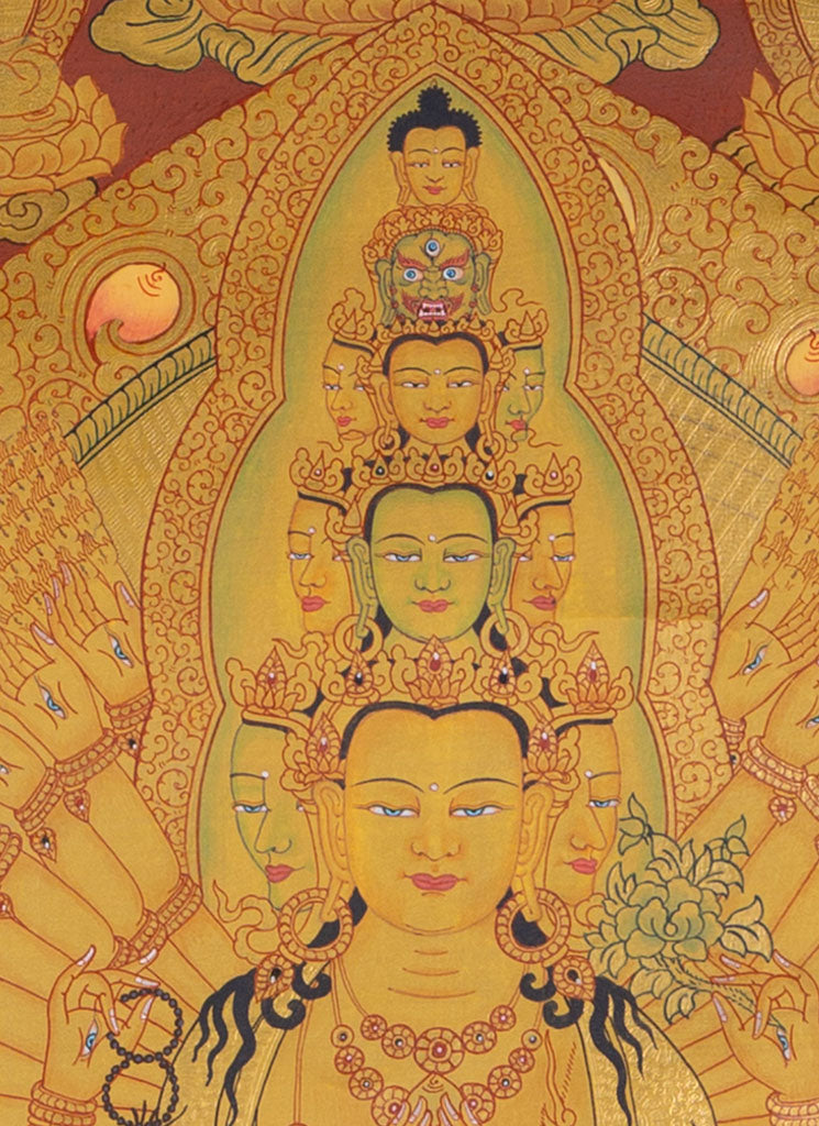 Avalokiteshvara Thangka | 1000 arm Chenrezig Tibetan Thangka on Sale -  Best Thangka online