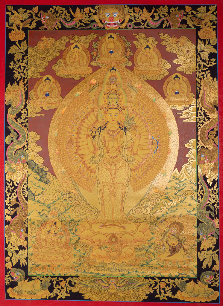 Hand Painted Avalokiteshvara Thangka, 1000 arm Chenrezig Tibetan Thangka on Sale.