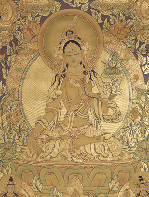 Full Gold plated Tibetan Thangka High Quality | White Tara art -  Best Thangka & Singing Bowl