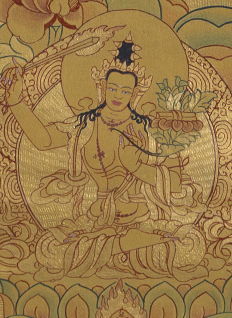 Gold Painted on cotton Canvas Tibetan Thangka Painting of Chenrezig | High Quality Collection -  Best Thangka & Singing Bowl