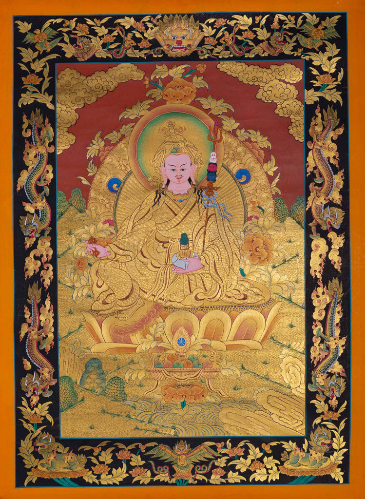 Guru Rinpoche or Guru Padmasambhava Gold Painting Tibetan Thangka -  Best Thangka & Singing Bowl