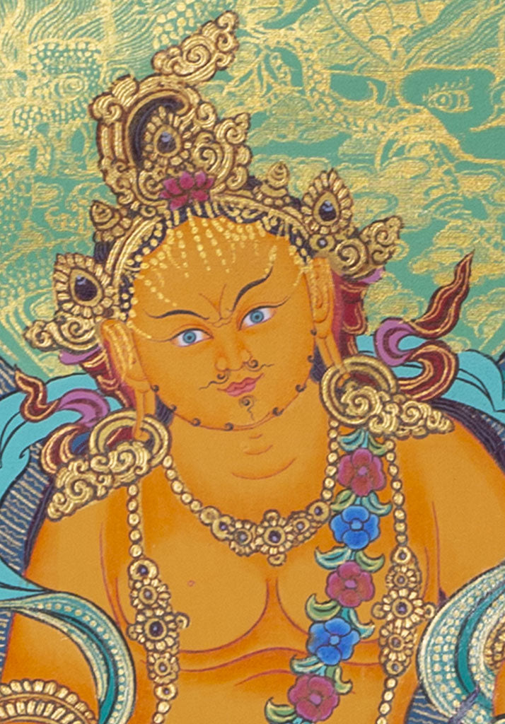 Buddha Of Wealth | Zambala Thangka Painting for Good Fortune -  Best Thangka & Singing Bowl
