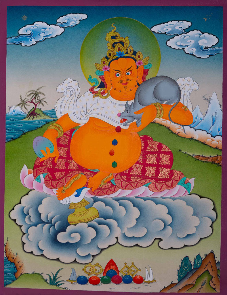 Kuber | God of Wealth and Prosperity | Thangka Painting -  Best Thangka & Singing Bowl