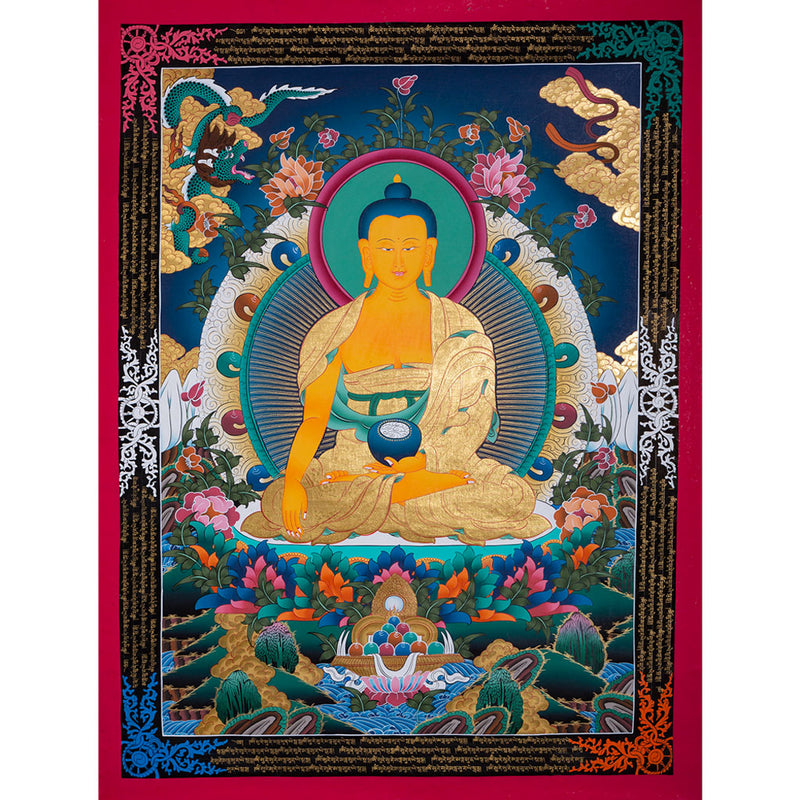 SHAKYAMUNI BUDDHA Thangka art The awakened One -  Best Thangka & Singing Bowl