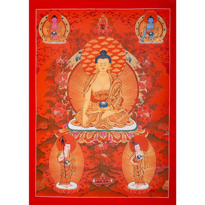 Red Shakyamuni Buddha Thangka painting with Amitabha buddha and medicine buddha Thangka art -  Best Thangka & Singing Bowl