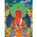 Amitayu long life Tibetan thangka painting for meditation.