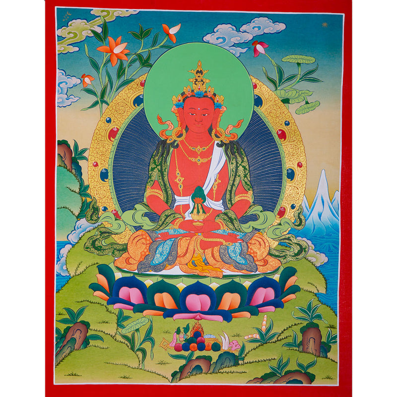 Amitayu long life Tibetan thangka -  Best Thangka & Singing Bowl