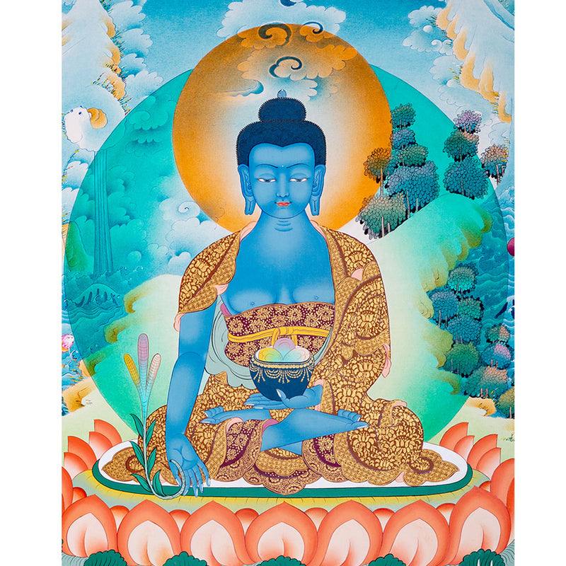 High quality Medicine Buddha Thangka painting for healing and meditation -  Best Thangka & Singing Bowl