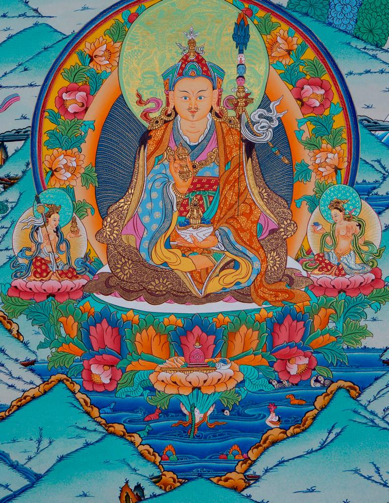 Guru Rinpoche or Guru Padmasambhava Thangka Painting art from Nepal -  Best Thangka & Singing Bowl