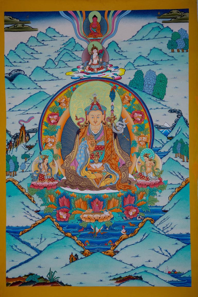 Guru Rinpoche or Guru Padmasambhava Thangka Painting art from Nepal