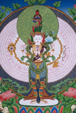 Avalokiteshvara -  Best Thangka & Singing Bowl
