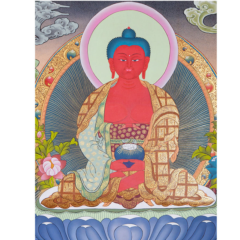 Buddha of Infinite Life - Amitabha Buddha Thangka Painting for sale.