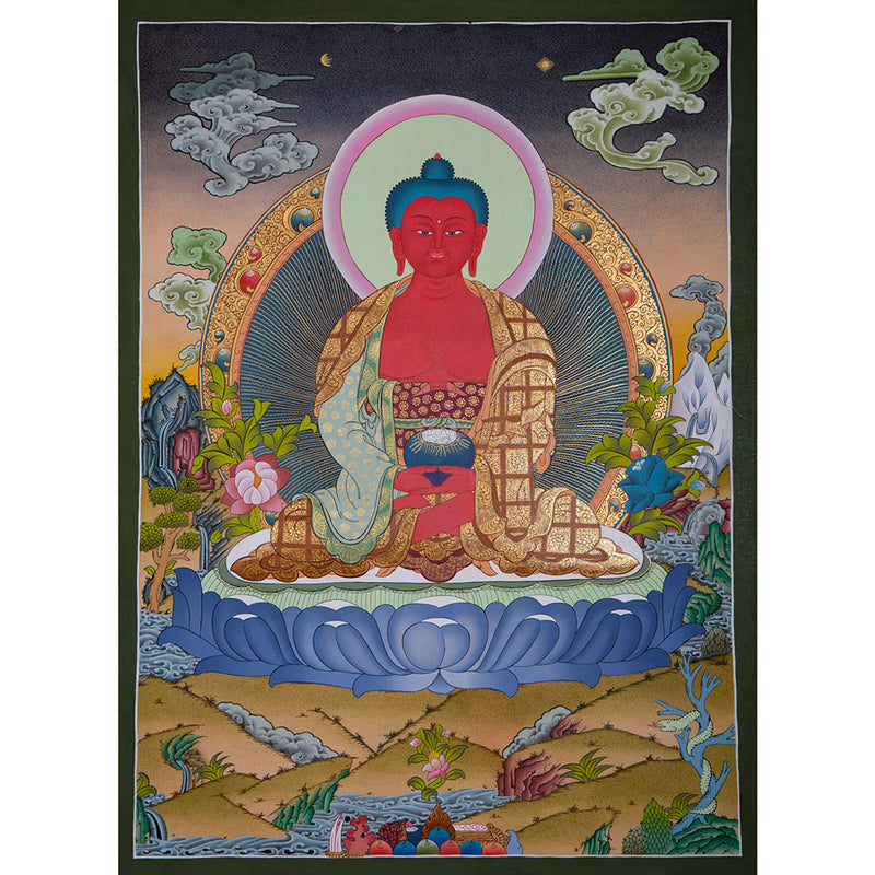Hand Painted thangka of Amitabha Buddha - Buddha of Infinite Life.