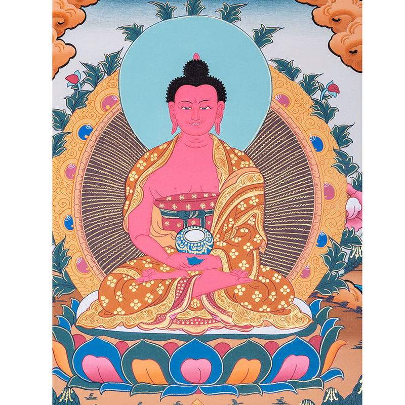 Amitabha Thangka painting for Long Life from Nepal -  Best Thangka with natural stone colour.