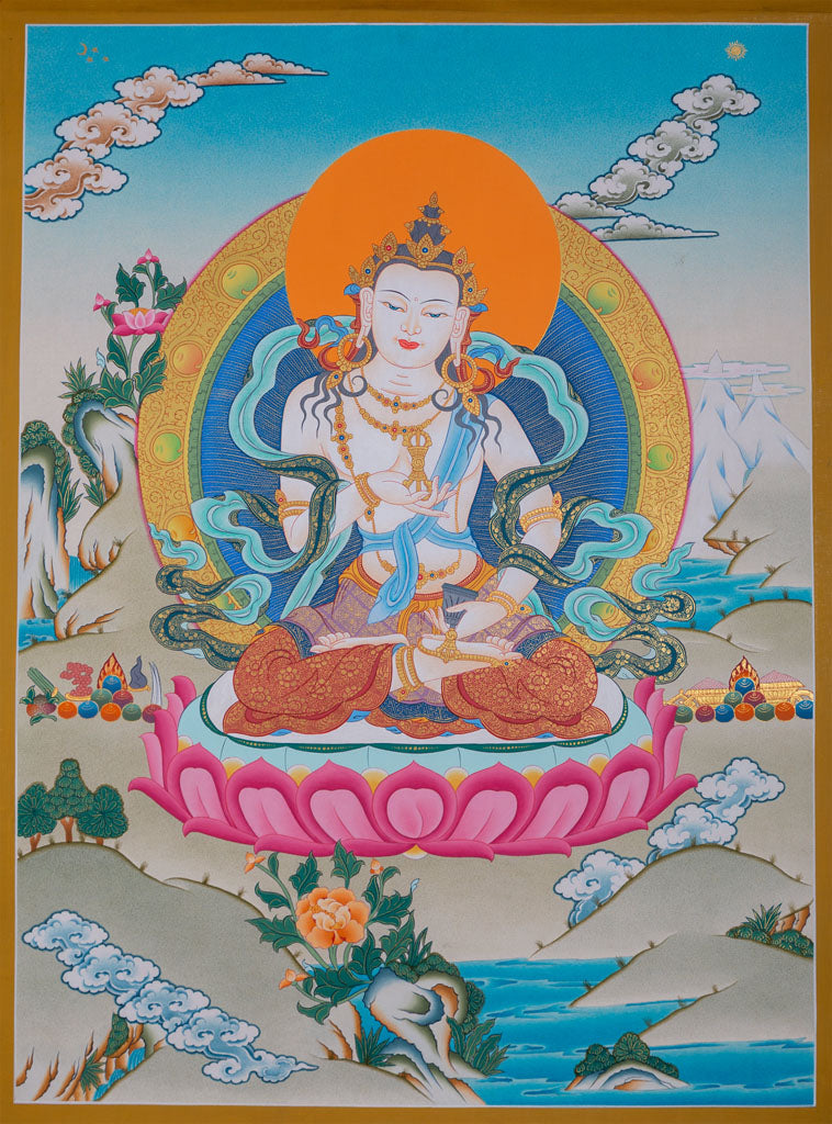 Beautiful Thangka Painting | Vajrasattva for Purification -  Best Thangka & Singing Bowl