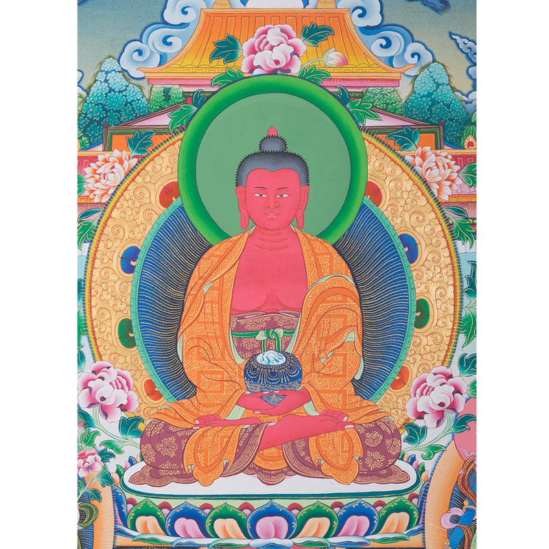 Amitabha Buddha Thangka painting with natural stone color.