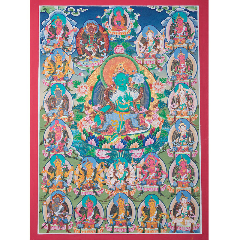 21 Green Tara Thangka painting -  Best Thangka on cotton canvas.