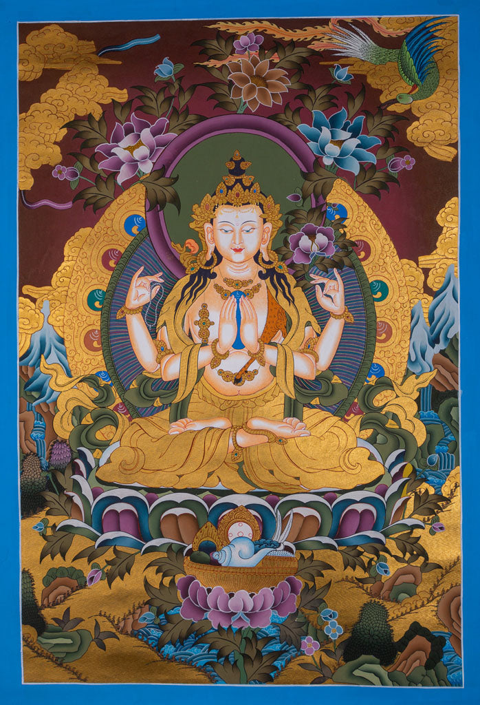 Great Bodhisattva of love and compassion | 4 arm chenrezig Tibetan thangka Buy Now -  Best Thangka & Singing Bowl