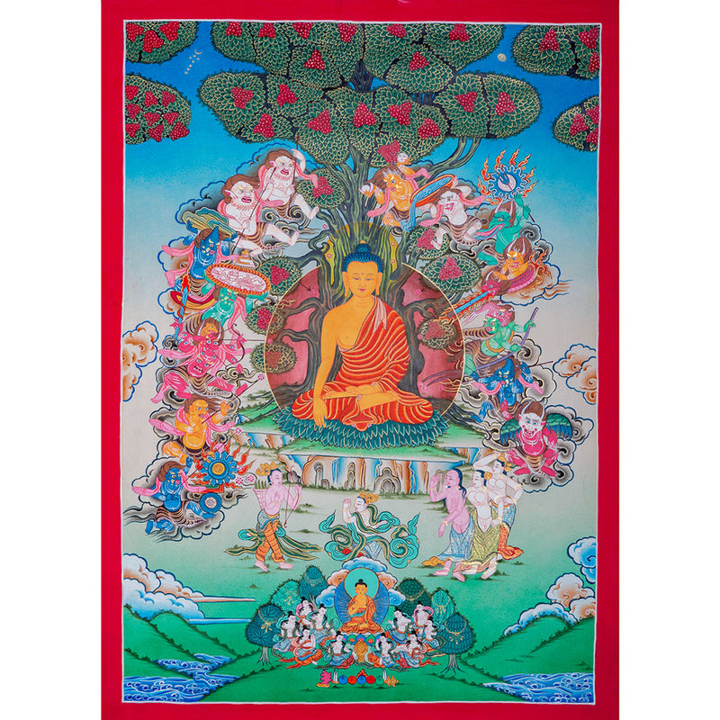 Shakyamuni Buddha Thangka event showing just before reaching the Enlightenment -  Best Thangka & Singing Bowl