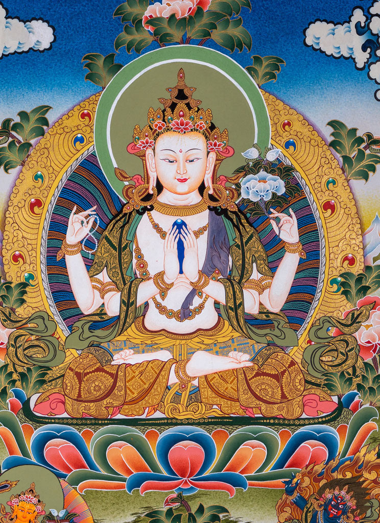 The Three Great Bodhisattvas | Chenrezig Thanka Painting | Buy Online beautiful art from Himalaya