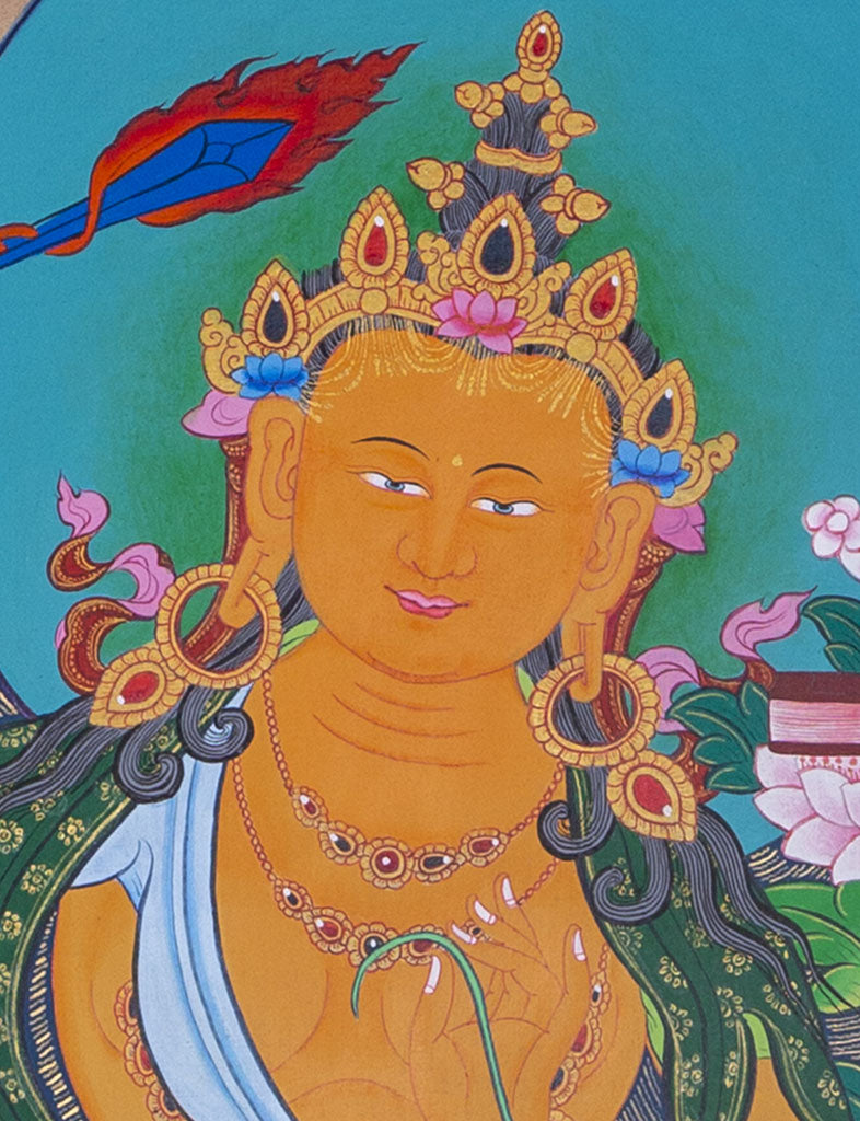 Enlighten Wisdom by cutting the Ignorance | Tibetan Thangka art of Manjushri Prajnaparmita -  Best Thangka & Singing Bowl